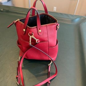 Nine West red leather backpack purse.